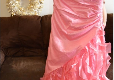 Peach / Pinkish Colored Long Mermaid / Prom  Dress with Ruffle Bottom